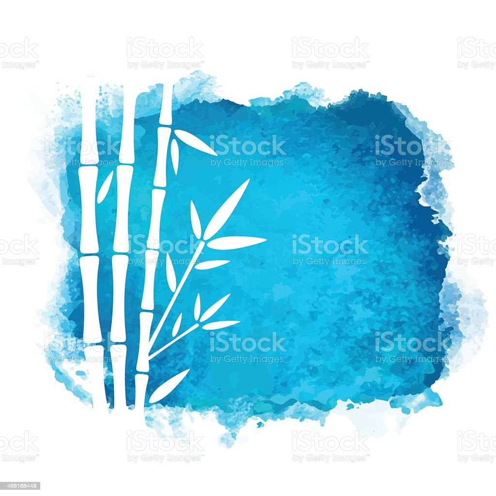 Watercolor stain and bamboo trees vector art illustration