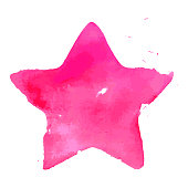 A vector illustration of a star in watercolor paint in a grunge style.