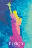 A vector illustration of a watercolor Statue Of Liberty.