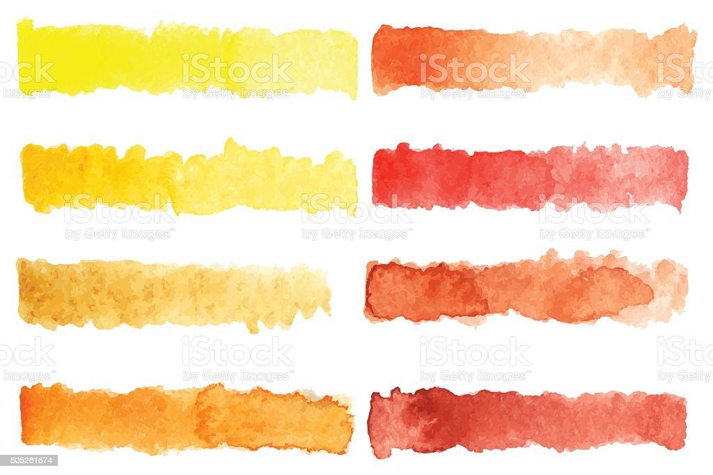 Watercolor stripe brush colorful rainbow palette vector background vector art illustration