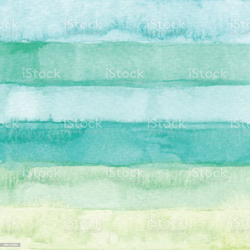 Watercolor Stripes Background Green vector art illustration