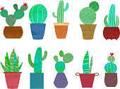 Cactus illustration set with watercolor blots and textures