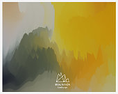 watercolor style chinese mountain landscape painting