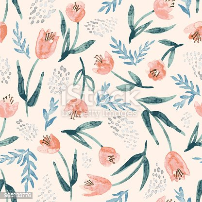 Pretty watercolor floral background. Vector seamless pattern with repeating flower and leaf motifs.
