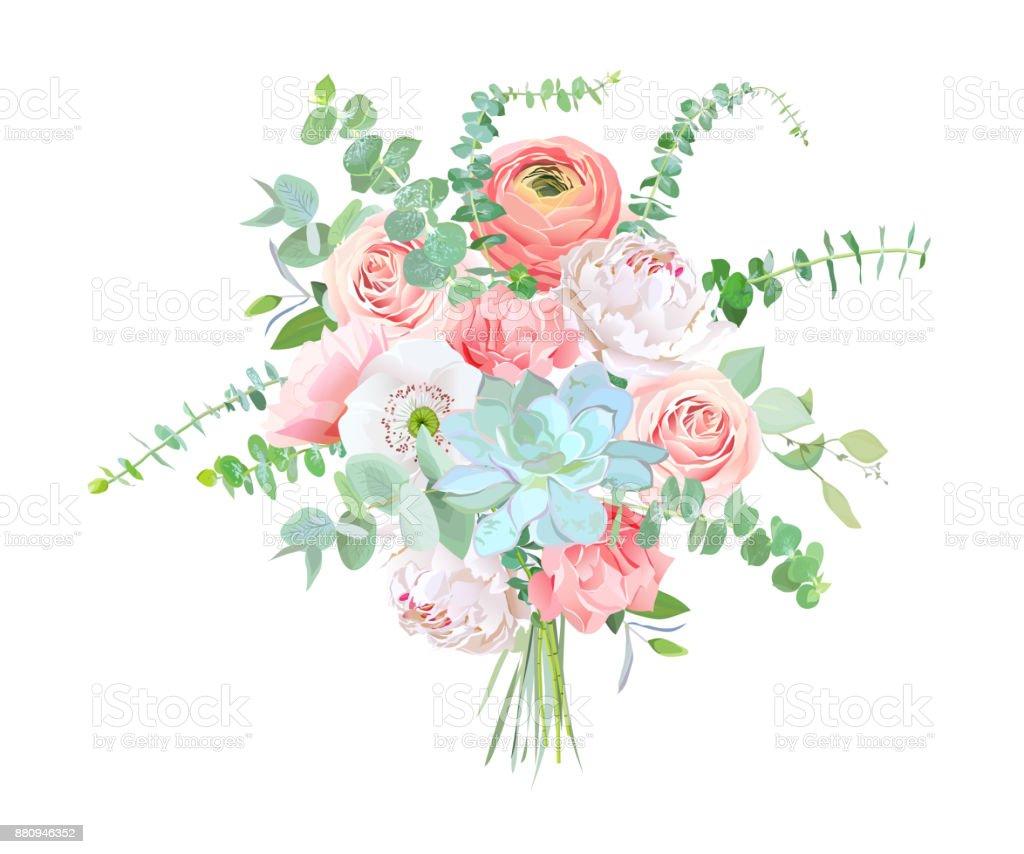 Sulu Boya Tarzı çiçek Buketi Stok Vektör Sanatı Ağaç çiçeğinin
