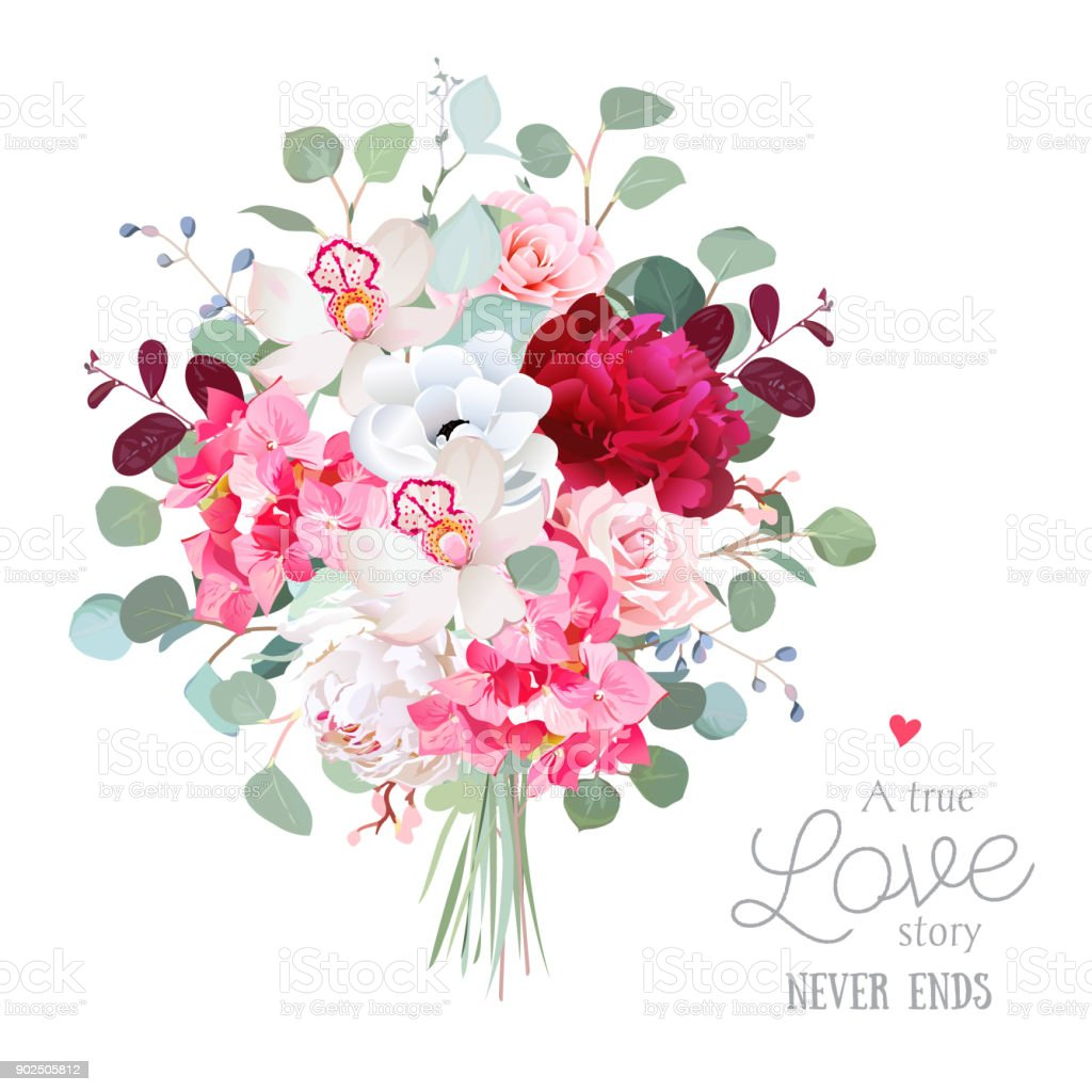 Watercolor Style Flowers Bouquet Stock Vector Art More Images Of
