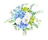 Watercolor style flowers bouquet