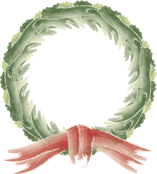 Watercolor Style Holiday Wreath - Christmas Vector vector art illustration