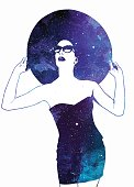 Watercolor style illustration of elegant woman wearing vintage clothes with space background