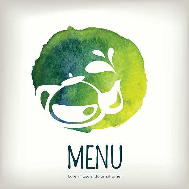 illustrazioni stock, clip art, cartoni animati e icone di tendenza di stile acquerello menu di progettazione con elementi di tè - camellia sinensis