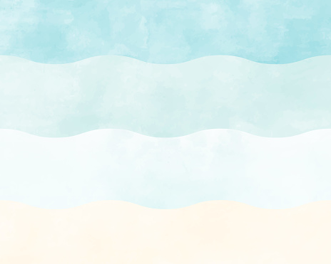 A watercolor style ocean or beach background illustration in light blue or blue.