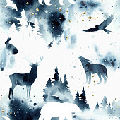 istock Watercolor stylish vector seamless pattern with forest and animals under night sky in blue and white colors. Wild animals silhouettes and trees isolated on background. Bear, wolf, deer, hare, eagle 1302239785