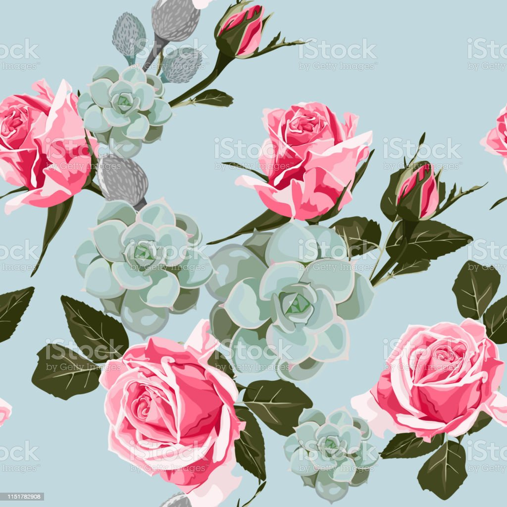 Watercolor Succulents And Roses Seamless Pattern Vintage Wallpaper