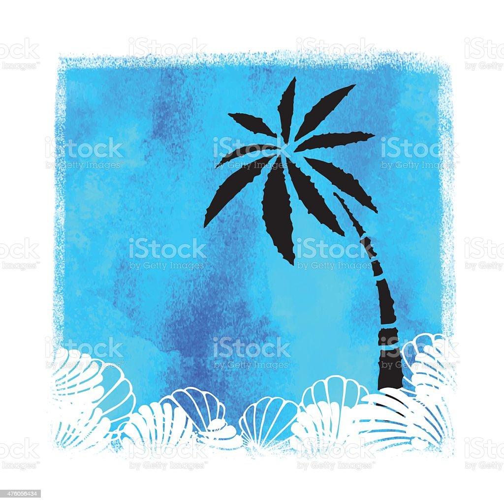 Aquarell Sommerbeachdruck Stock Vektor Art und mehr Bilder von 2015 ...