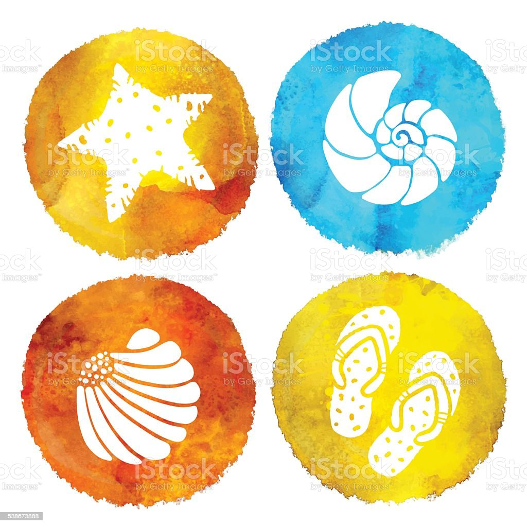 Aquarell Sommerbeachdruck Vektor Illustration 538673888   iStock