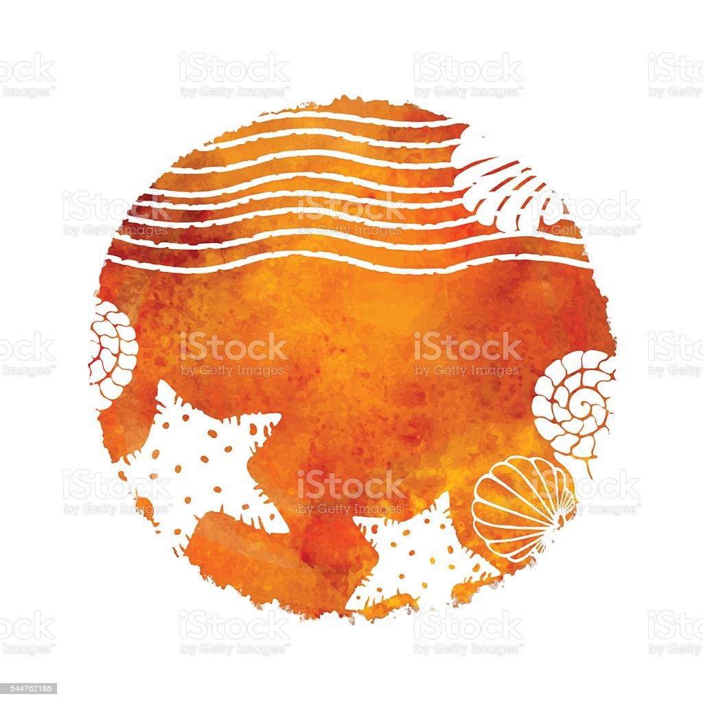 Aquarell Sommerbeachdruck Stock Vektor Art und mehr Bilder von ...