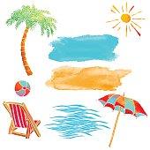 Watercolor summer beach set. Waves, sea, palm tree, sun, sun umbrella, ball, deck chair, sand isolated on white background - vector artwork