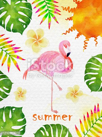 Watercolor Summer Day Collections. Flamingo, Sun, Tropical Flowers and Leaves Abstract Background.