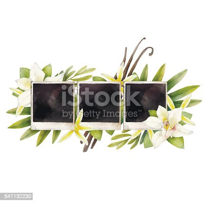 Watercolor summer design with photo paper and vanilla flowers. Hand painted floral card isolated on white background