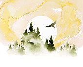 istock Watercolor summer vector landscape in green and golden colors. Forest, eagle and sunrise. Hand drawn illustration. 1302743783
