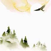 istock Watercolor summer vector landscape in green, golden and white colors. Nature watercolor template. Forest, sun and eagle. Hand drawn frame with place for text or illustration. 1302743784