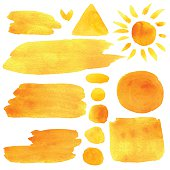 Watercolor orange, yellow, sun, moon, abstract brush strokes, stripes, lines, circle round paint stains, triangle, square, borders,  frames isolated on white background. Hand painting on paper. Art design elements set
