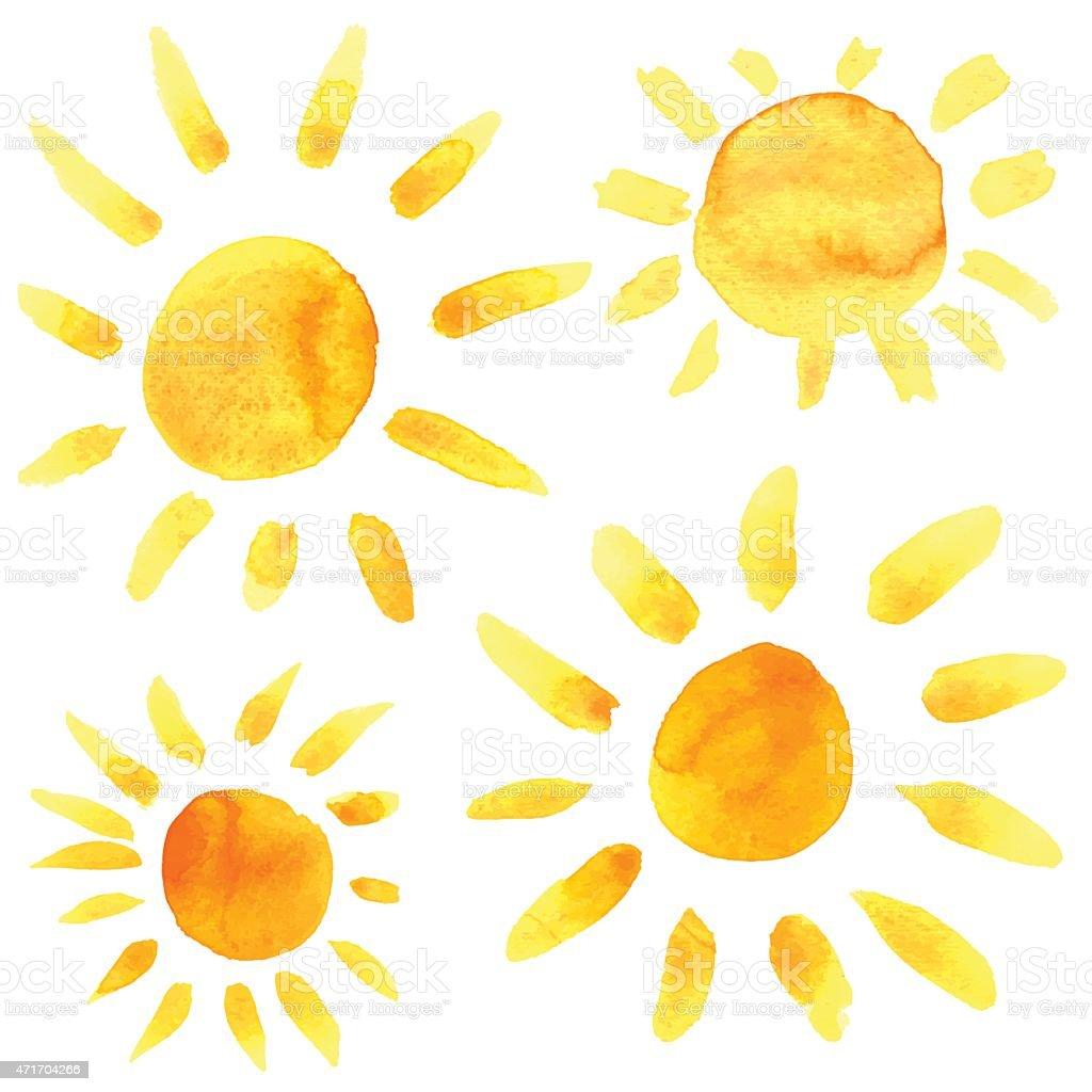 Watercolor sun icons set closeup isolated vector art illustration