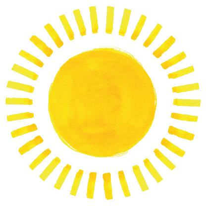 Watercolor sun illustration