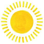 istock Watercolor sun illustration 1307365042