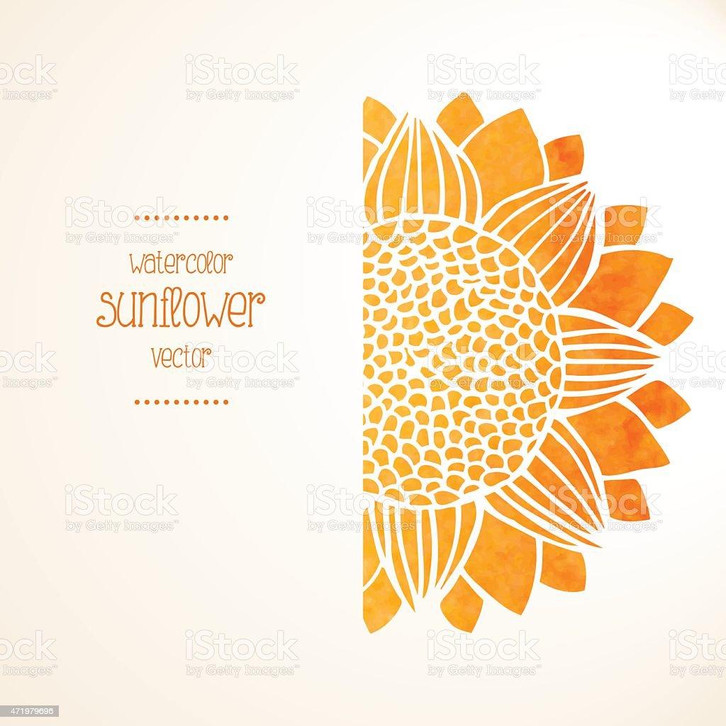 Watercolor sunflower. Vector background vector art illustration