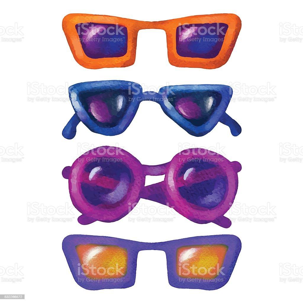 Aquarell-Sonnenbrille - Lizenzfrei Accessoires Vektorgrafik