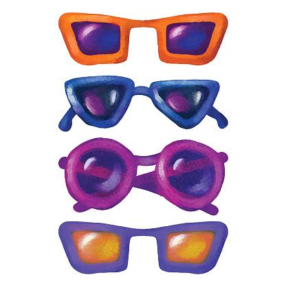 Aquarellsonnenbrille Stock Vektor Art und mehr Bilder von Accessoires