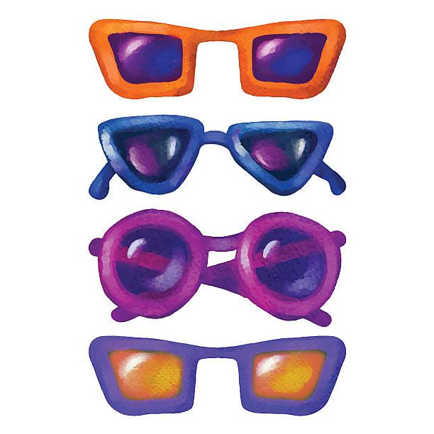 aquarell-sonnenbrille - extravagant schutzbrille stock-grafiken, -clipart, -cartoons und -symbole