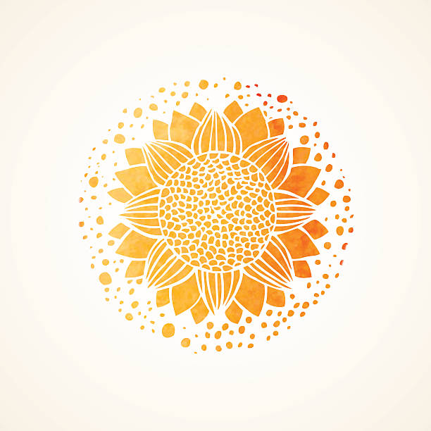 Aquarell sonnig gelbe-Muster. Vektor-element. Mandala – Vektorgrafik