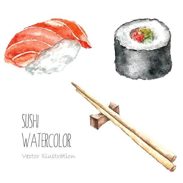 水彩寿司とロール箸で食べる。 - 和食点のイラスト素材/クリップアート素材/マンガ素材/アイコン素材