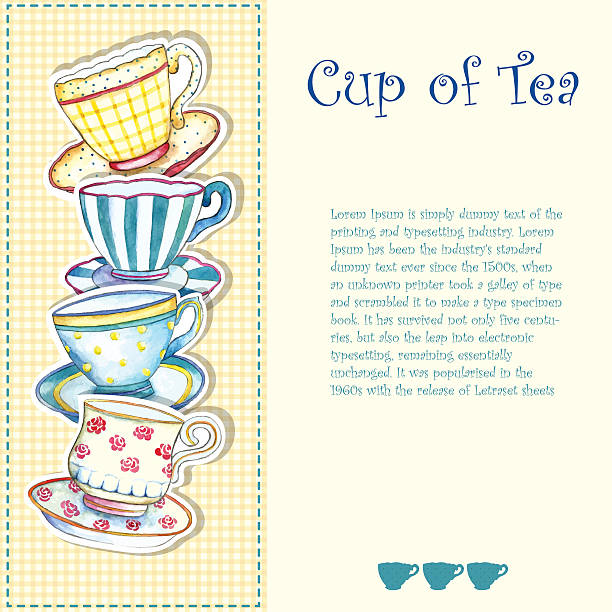 watercolor tea cups. - stacked tea cups stock illustrations, clip art, cartoons, & icons
