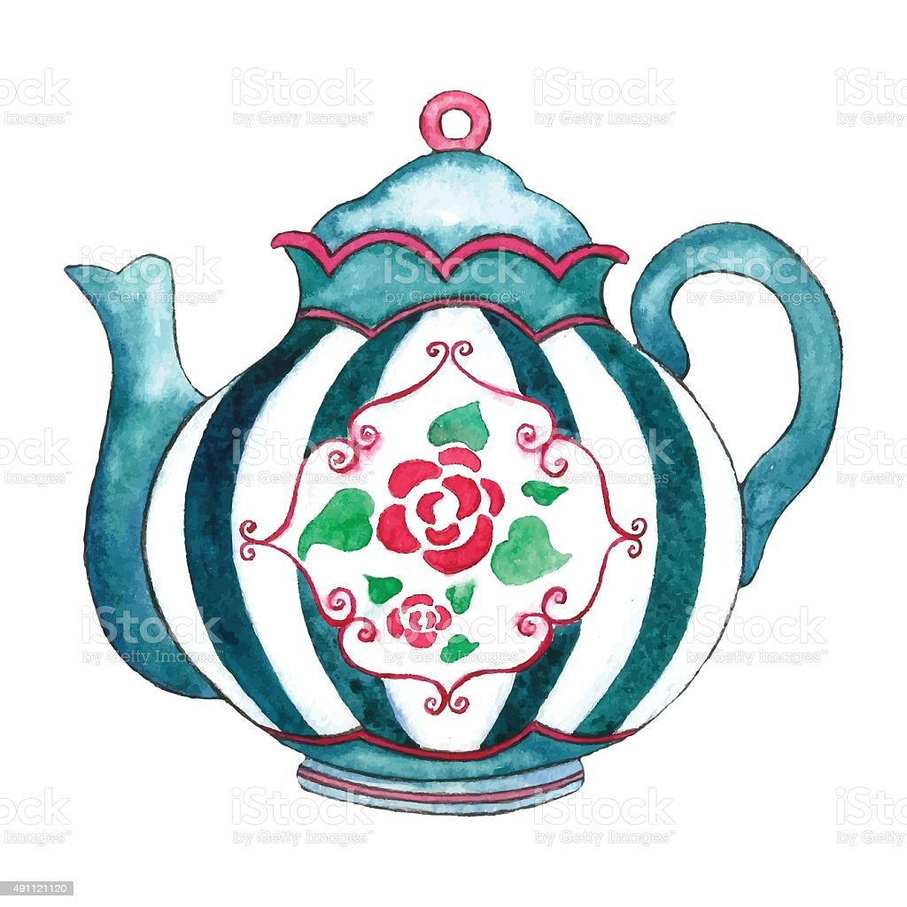 Watercolor teapot. vector art illustration