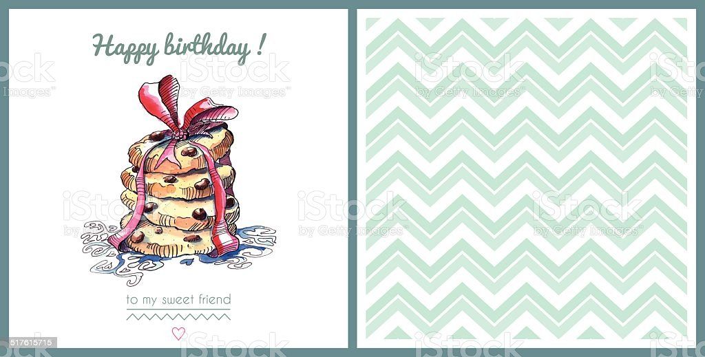 Watercolor template of a birthday card vector art illustration