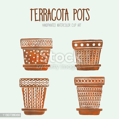Watercolor Terracotta Flower Pots, Boxes, Vases, Containers. Brown Flower Pots with Hand Painted White Ornaments. Art Clip, Design Element