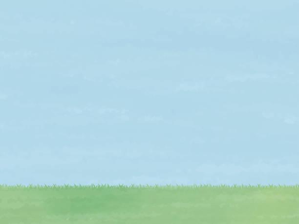水彩テクスチャ背景画像空と草原バージョンの空 - 草原点のイラスト素材/クリップアート素材/マンガ素材/アイコン素材