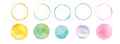 istock Watercolor texture, round graphic material, trace vector 1194510452