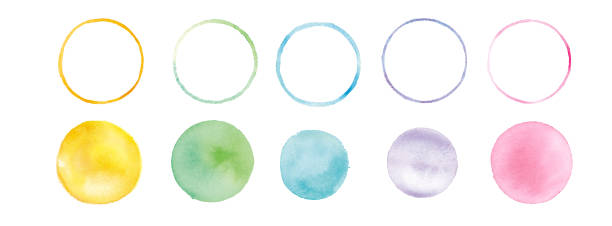 Watercolor texture, round graphic material, trace vector Watercolor texture, round graphic material, trace vector watercolor painting stock illustrations
