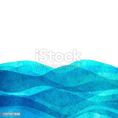istock Watercolor transparent wave sea ocean teal turquoise colored background. Watercolour hand painted waves illustration 1207027839