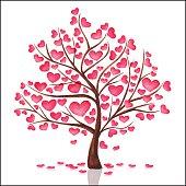 Tree with heart watercolor. Handmade.