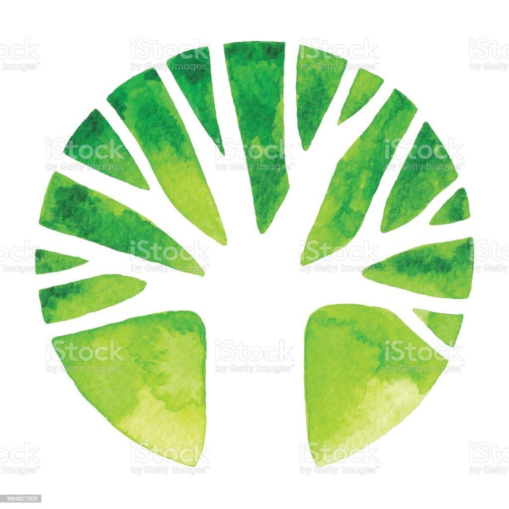 Watercolor Tree Logo Watercolor tree in circle Biology stock vector