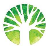 istock Watercolor Tree Logo 684807306