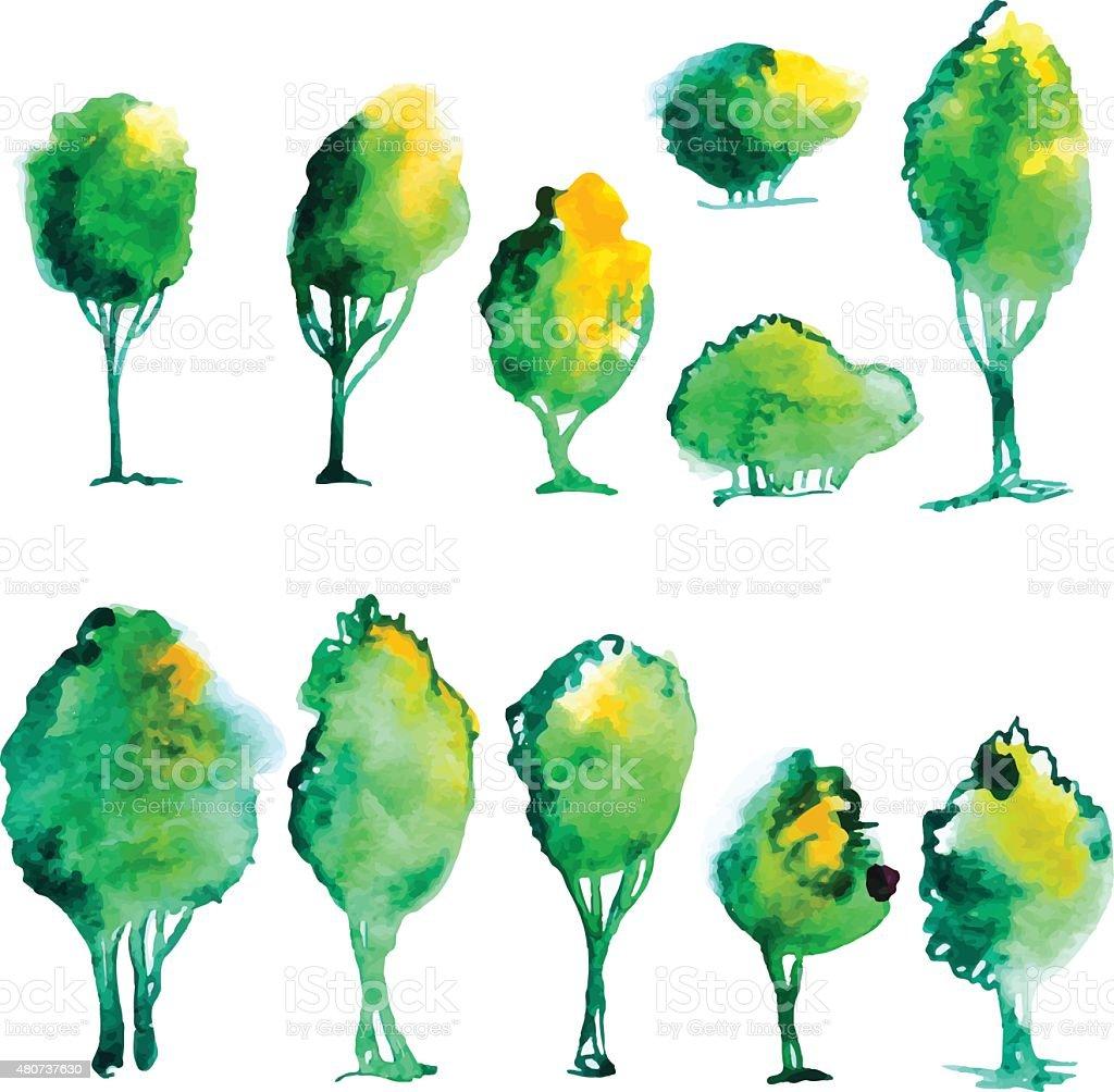 Watercolor tree set vector art illustration