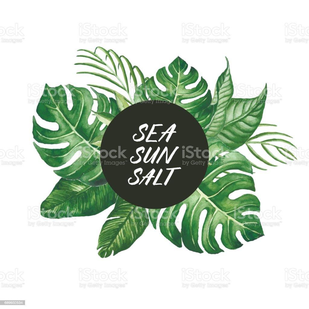 Aquarell Tropische Blätter Rahmen Mit Meer Sonne Salz Worte Moderner ...