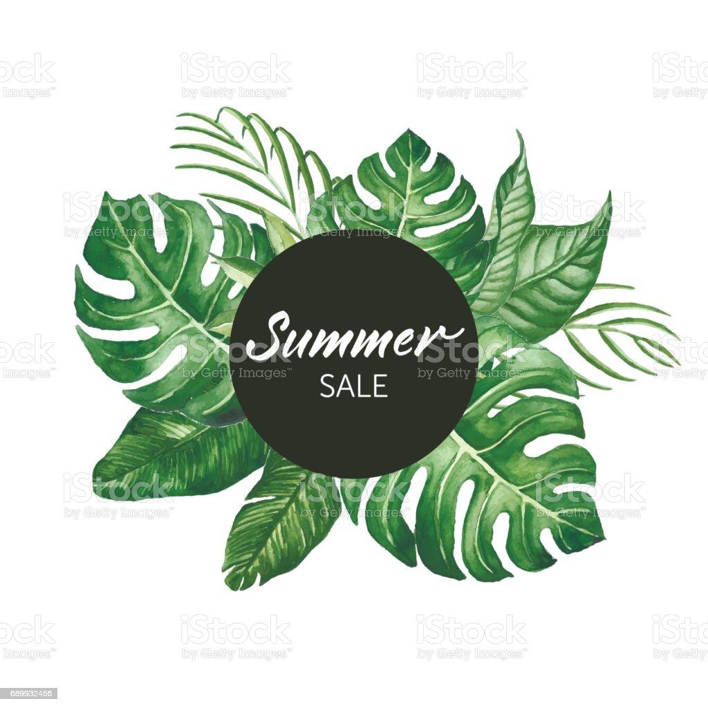 Aquarell Tropische Blätter Rahmen Mit Summer Sale Worte Moderner ...