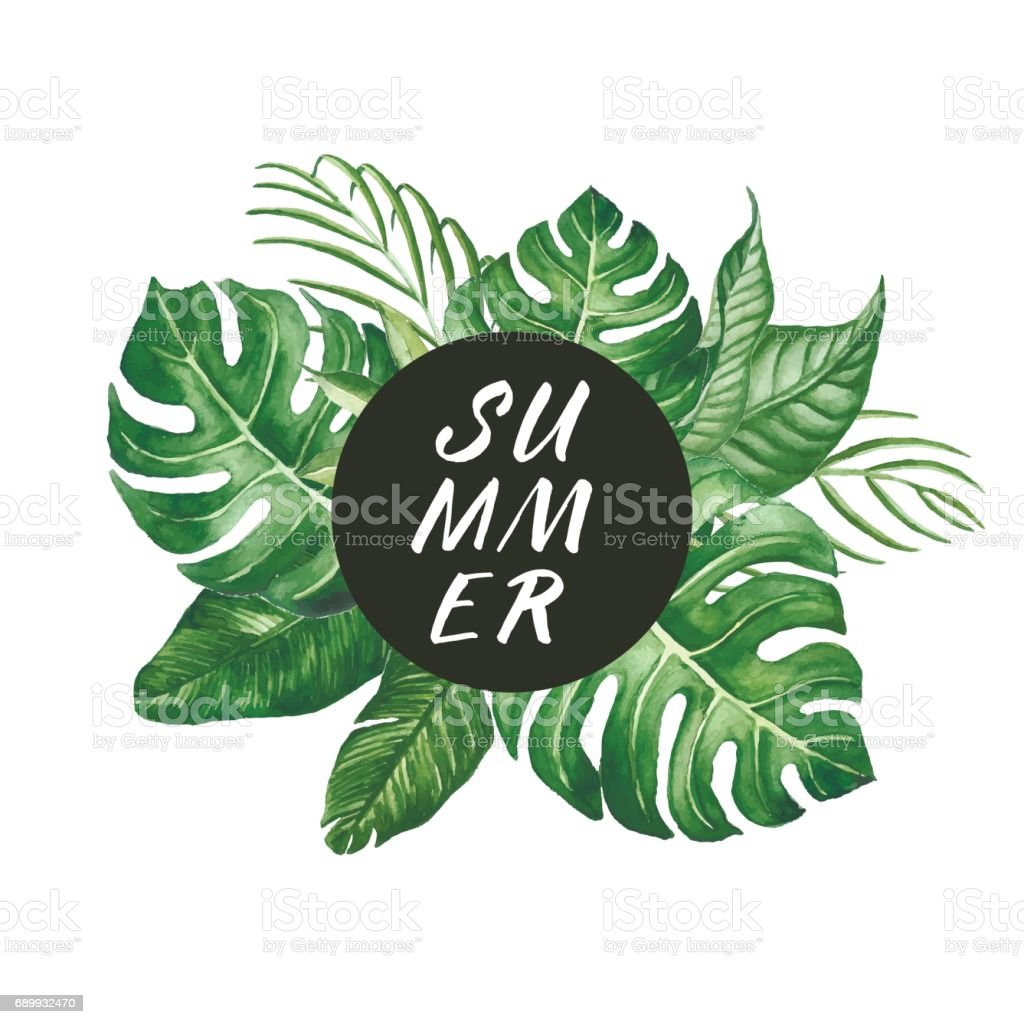 Watercolor tropical leaves frame with SUMMER word modern lettering